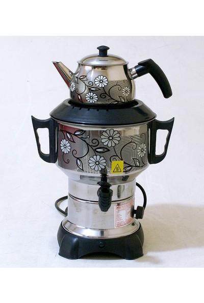 Aldente Elektirikli Desenli Çelik Semaver Çaycı 4.5 lt