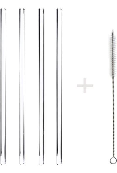 1200 Derece Dayanıklı Cam Pipet 20cm 4'lü Set – Düz