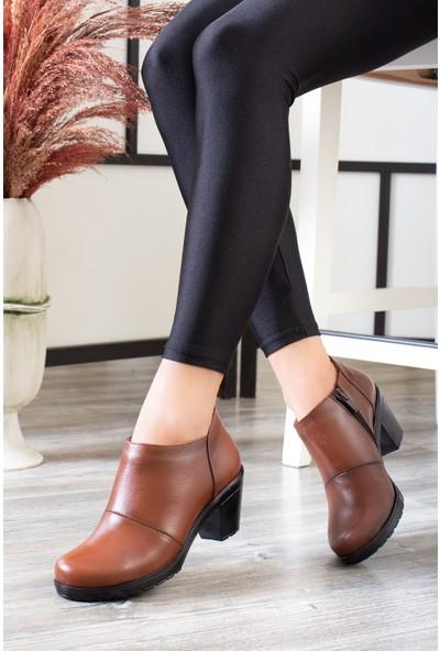 Tarçın Deri Taba Günlük Kadın Topuklu Ayakkabı Trc137-1103