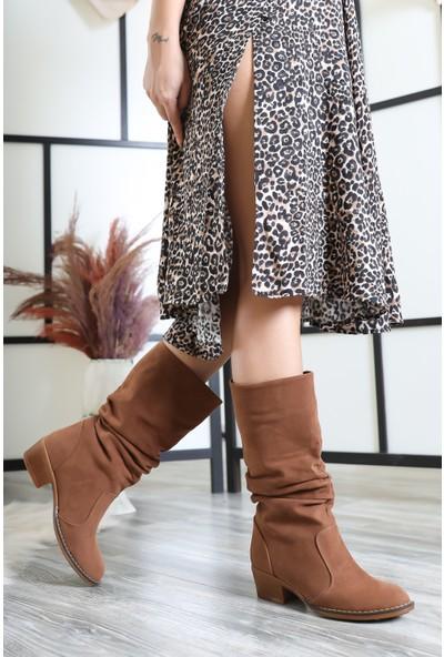 Tarçın Taba Süet Günlük Kadın Topuklu Klasik Çizme Trc02-Rs010
