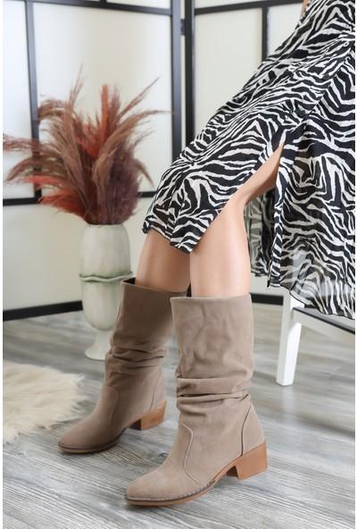 Tarçın Vizon Süet Günlük Kadın Topuklu Klasik Çizme Trc02-Rs010