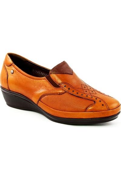 Forelli 18036 Kadın Taba Deri Comfort Ayakkabı