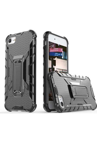 Tekno Grup Apple iPhone 7 / 8 Plus Kılıf Darbeye Dayanıklı Kenar Stand Olabilen Klik Arka Kapak - Şeffaf + Cam Ekran Koruyucu