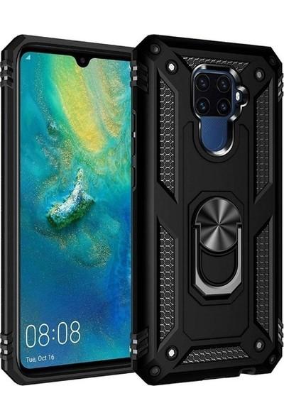 Tekno Grup Huawei Mate 30 Lite Kılıf Yüzüklü Standlı Manyetik Vega Kapak - Siyah + Cam Ekran Koruyucu