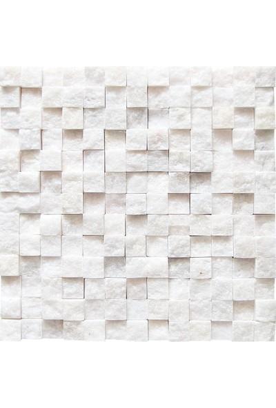 Doğal Dekor Kübik 23 x 23 mm Simli Beyaz Mermer Patlatma Doğal Taş Duvar Kaplama Fileli Mozaik 3D
