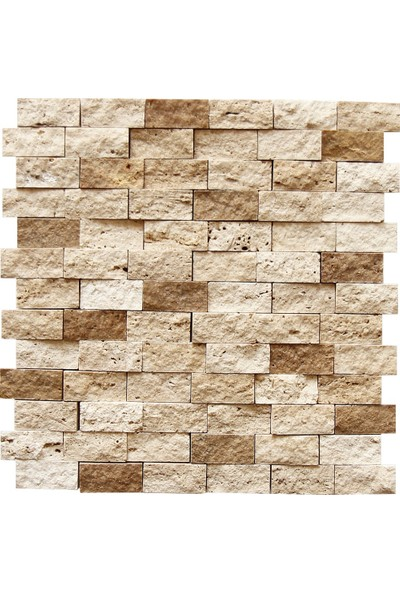 Traverten Mix Patlatma Doğal Taş Duvar Kaplama Fileli Mozaik