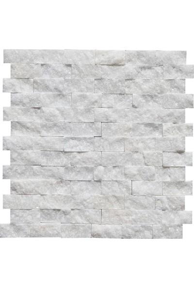 Doğal Dekor Beyaz Simli Mermer Patlatma Doğal Taş Duvar Kaplama Fileli Mozaik