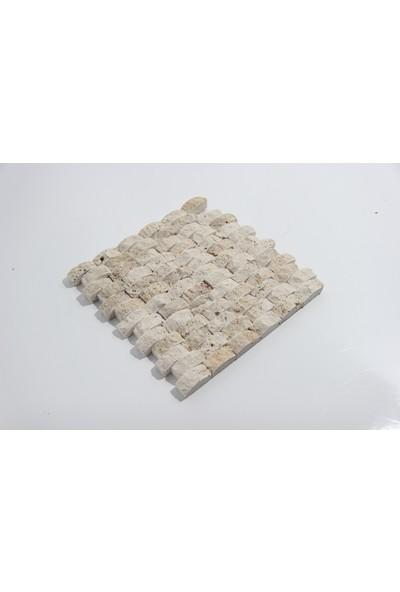 Doğal Dekor Bombeli 23 x 48 mm Traverten Doğal Taş Patlatma Duvar Kaplama Fileli Mozaik
