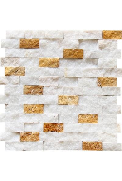Doğal Dekor Simli Beyaz Mermer Traverten Patlatma Doğal Taş Duvar Dekorasyonu Kaplama Mozaik 23 x 48 mm