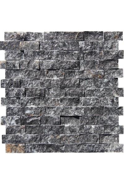 Doğal Dekor Siyah Mermer Traverten Patlatma Doğal Taş Duvar Dekorasyonu Kaplama Mozaik