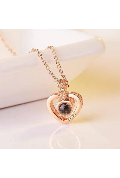 Avantajewellery 100 Dilde Seni Seviyorum Taşlı Kalp Model - 2 Renk Seçeneği - Sevgiliye En Şık Hediye