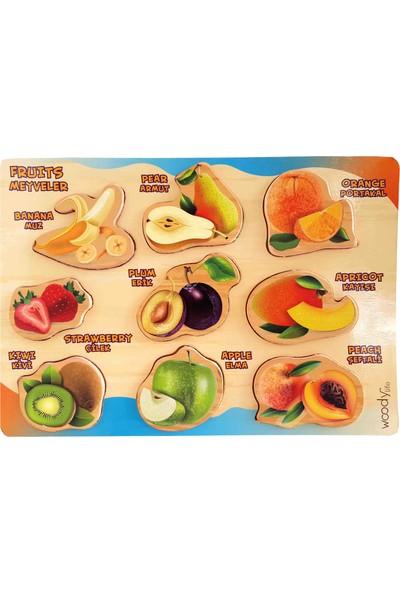Woody Life Woodylife Ahşap Puzzle Meyve Seti Eğtiici Zeka Geliştiren Montessori Meteryal Ingilizce Türkçe
