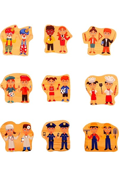 Woody Life Ahşap Puzzle Bultak Meslekler Ingilizce Türkçe Eğitici Oyuncak