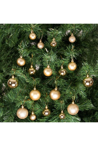 Kikajoy Yılbaşı Çam Ağacı Süsü Altın Set 36'lı