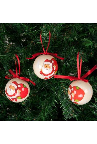 Kikajoy Yılbaşı Çam Ağacı Süsü Noel Baba Desenli Top 6 cm 6'lı
