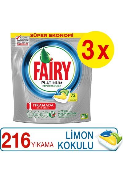 Fairy Platinum 72 x 3 Yıkama Bulaşık Makinesi Deterjanı Kapsülü Limon Kokulu