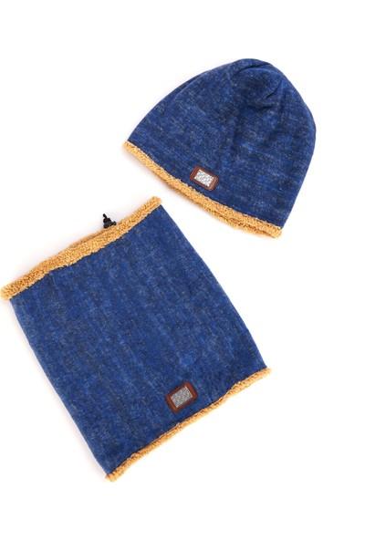 Sahi Aksesuar Kışlık Boyunluk & Bere Takım Kırçıllı Mavi