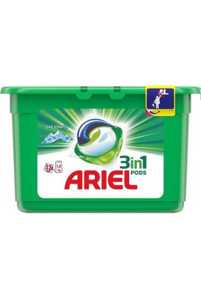 Ariel 3'ü 1 Arada Pods Sıvı Çamaşır Deterjanı Kapsülü Dağ Esintisi 12 Yıkama