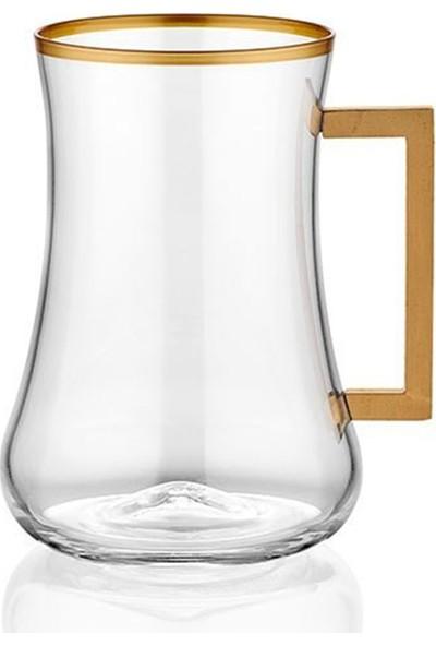 Koleksiyon Dervish Çay Bardağı 6'lı Set Mat Altın Kare Kulp