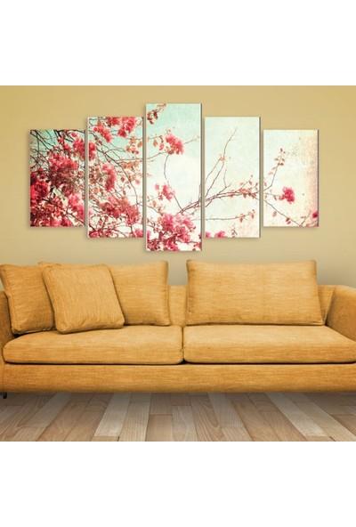Dekorvia Kiraz Çiçeği - 5 Parçalı MDF Tablo 100 x 60 cm