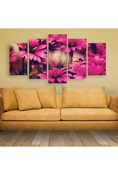 Dekorvia Pembe Çiçekler - 5 Parçalı MDF Tablo 100 x 60 cm