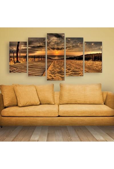 Dekorvia Günbatımı 12 - 5 Parçalı MDF Tablo 100 x 60 cm