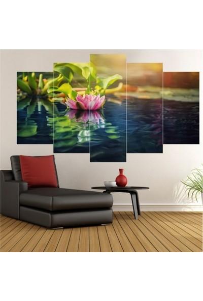 Dekorvia Göl ve Çiçek - 5 Parçalı MDF Tablo 100 x 60 cm