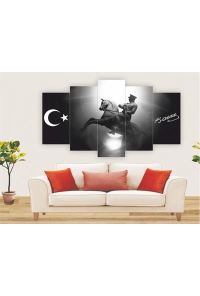 Dekorvia Siyah Beyaz Atatürk - 5 Parçalı MDF Tablo 100 x 60 cm