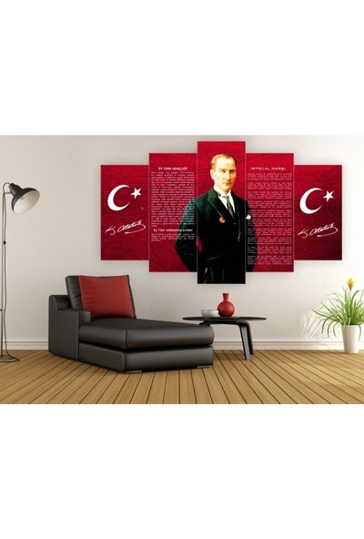 Dekorvia Atatürk İstiklal - 5 Parçalı MDF Tablo 100 x 60 cm