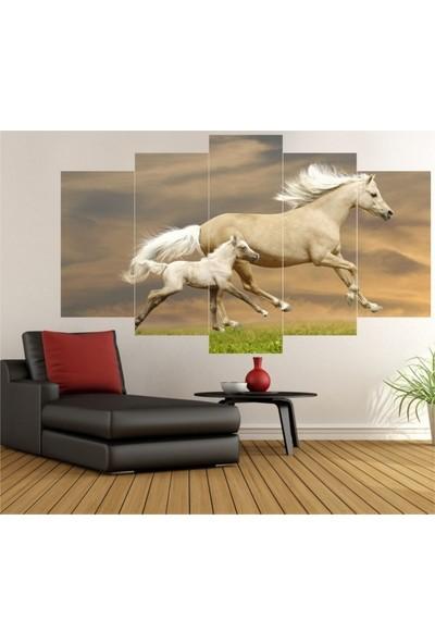 Dekorvia At ve Yavrusu - 5 Parçalı MDF Tablo 100 x 60 cm
