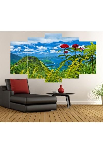 Dekorvia Göl ve Doğa 10 - 5 Parçalı MDF Tablo 100 x 60 cm