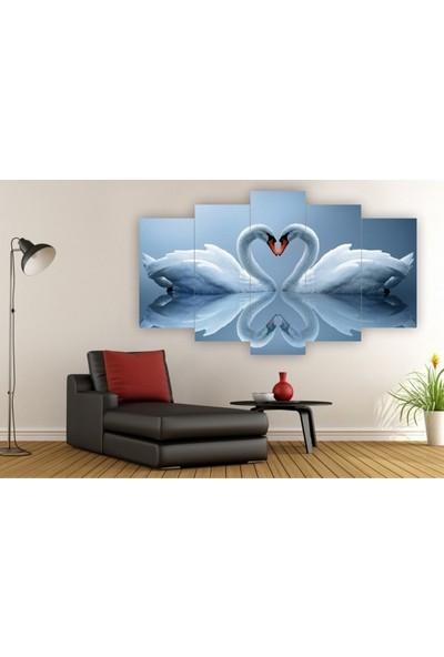 Dekorvia Kuğular - 5 Parçalı MDF Tablo 100 x 60 cm