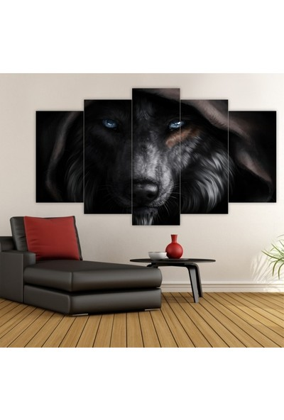 Dekorvia Siyah Kurt 10 - 5 Parçalı MDF Tablo 100 x 60 cm