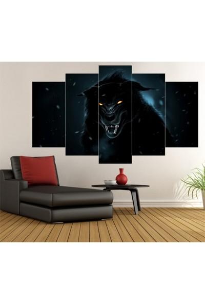 Dekorvia Siyah Kurt 11 - 5 Parçalı MDF Tablo 100 x 60 cm