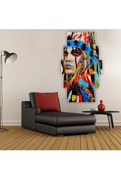 Dekorvia Dikey Kızıldereli Kadın - 5 Parçalı MDF Tablo 100 x 60 cm