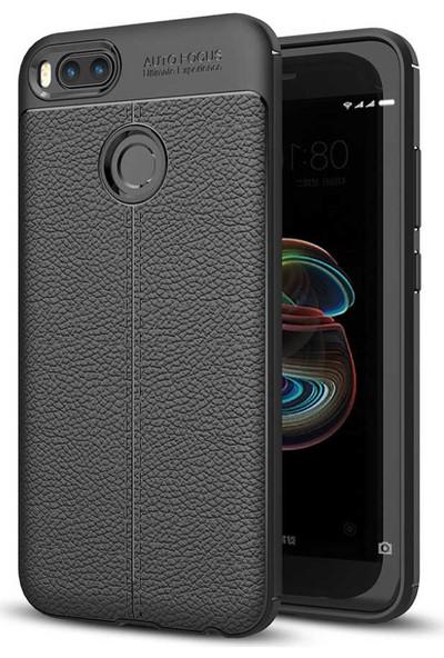 89 Go Xiaomi Mi 5x Deri Fiss Silikon Kılıf Siyah