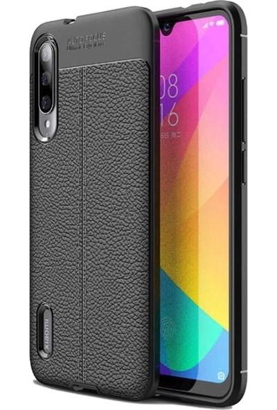Teleplus Xiaomi Mi9 Lite Deri Dokulu Silikon Kılıf Siyah + Nano Ekran Koruyucu