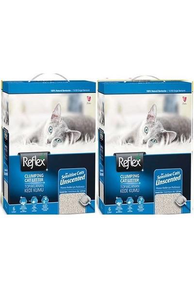 Reflex Hassas Kediler İçin Parfümsüz Doğal Kedi Kumu 6 l 2 Adet