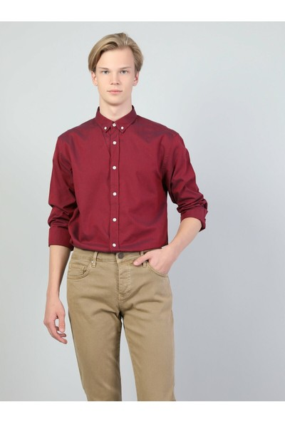 Colins Regular Fit Shirt Neck Erkek Kırmızı Uzun Kol Gömlek