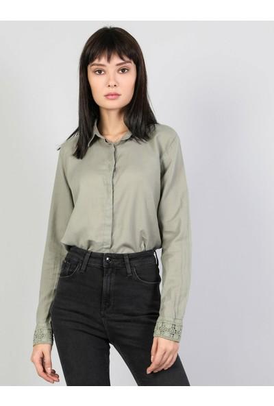 Colins Slim Fit Shirt Neck Kadın Haki Uzun Kol Gömlek