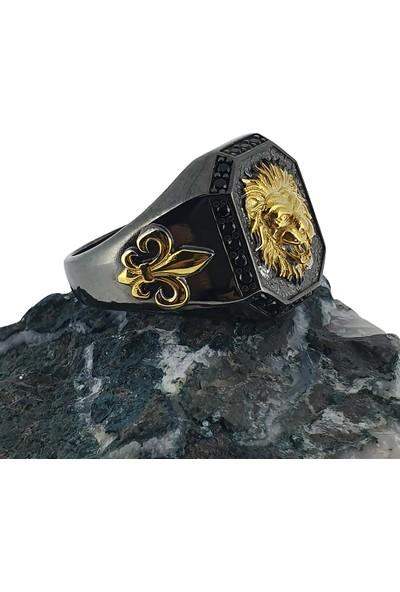 Dalman Silver Dalman Silveraslan Apolet Çift Renk Özel Koleksiyon Siyah Taşlı Erkek Yüzüğü