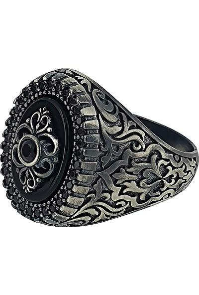Dalman Silver Dalman Silverelips Onix Taşlı Özel Koleksiyon Gümüş Erkek Yüzüğü