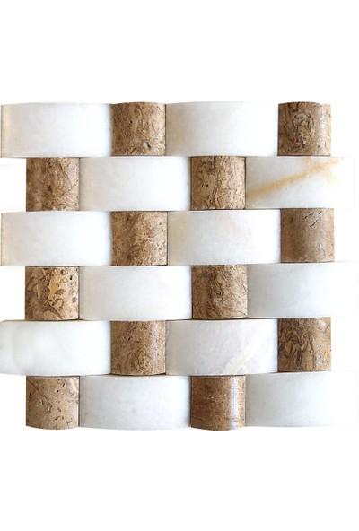 Doğal Dekor Kement Dekoratif Classic Traverten Mermer Dekoratif Doğal Taş Hasır Duvar Kaplama Patlatma Fileli Mozaik