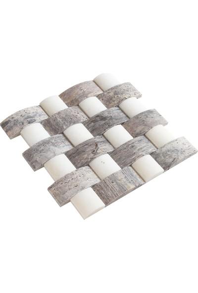Doğal Dekor Sepet Dekoratif Gümüş Traverten Doğal Taş Hasır Duvar Kaplama Patlatma Fileli Mozaik