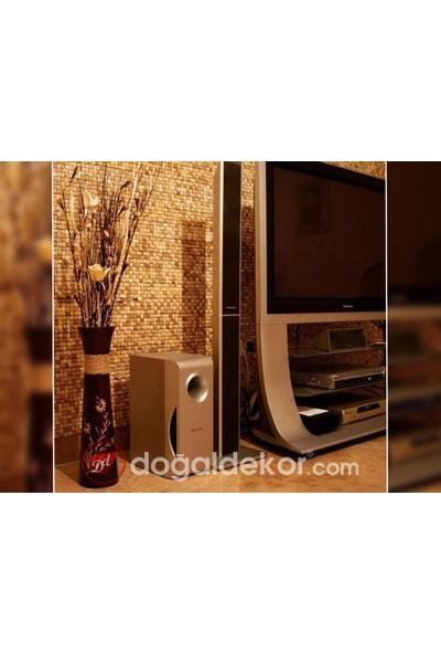 Doğal Dekor Şeker 23 x 23 cm Dekoratif Ceviztraverten Doğal Taş Hasır Duvar Kaplama Patlatma Fileli Mozaik