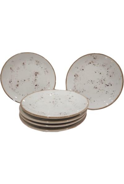 Tulu Porselen 6 Adet 24 cm Reaktif 46 Krem Servis Tabağı Takımı