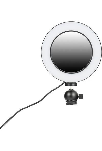 """Blackmarket Aynalı Kuaför Makyaj Düğün Salonu Özel Aynalı Ring Light Işık 10"""" 2 m Stand"""