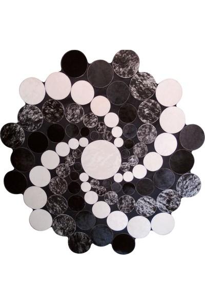 Tappeto Planet Deri Halı Siyah Rüzgar Gülü 120 x 120 cm