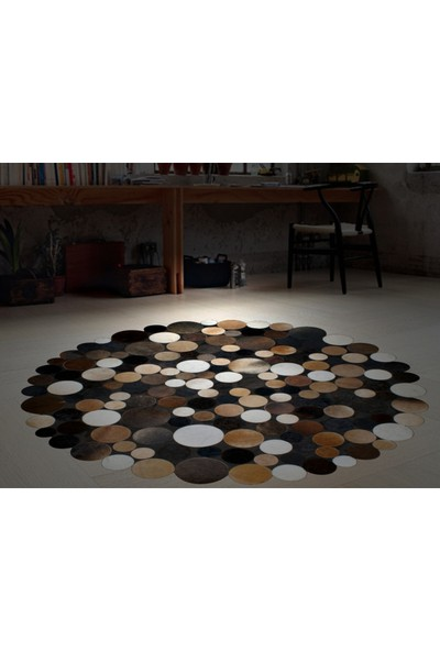 Tappeto Planet Deri Halı Multi Kahve Round 120 x 120 cm