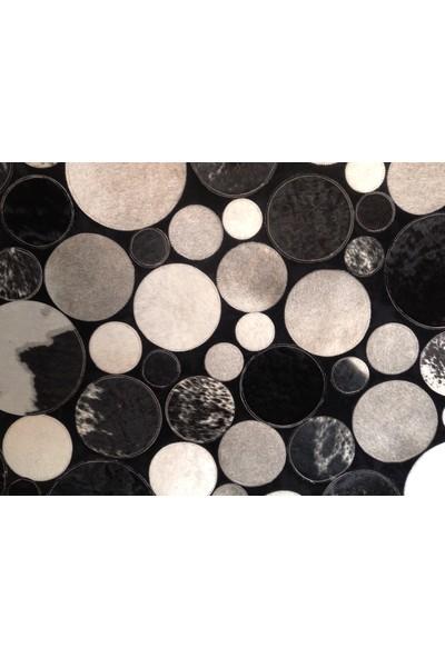 Tappeto Planet Deri Halı Siyah Beyaz 80 x 150 cm